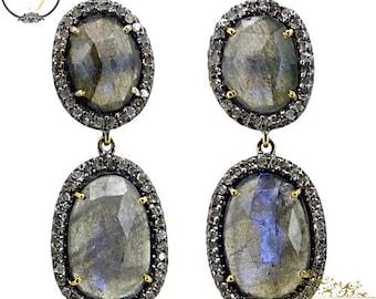 14K Gold Gemstone Earring Jewelry, 925 Sterling Silver Labrodorite Earrings, Pave Diamond Earring Jewelry, Gemstone Dangle Earring Jewelry