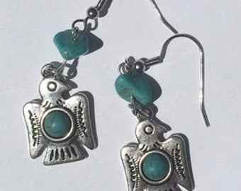 Native American Totem Bird Earrings with Tourquoise Bead accents