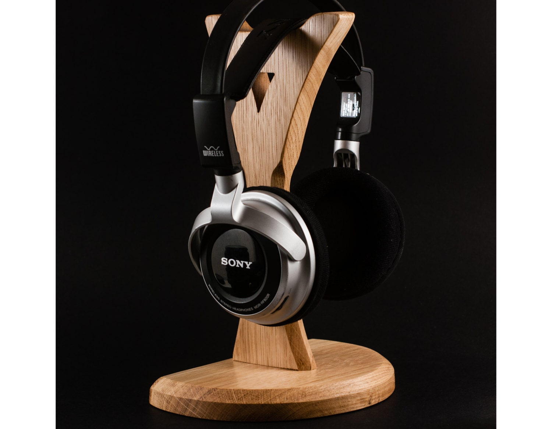Wooden headphone stand headphone station headphone holder tech - Wooden headphone holder ...