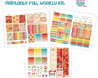 Fall Printable Planner Stickers, Full Weekly Kit, Perfect for Erin Condren Planner and other planners