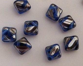 Silky Beads 6mm Color Sapphire Chrome Stripes 2740V 30/60/90 Pcs