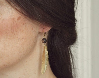 Earrings feather plated gold Pemberley with stones fine