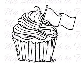 Digital stamp colouring image - cupcake. jpeg / png