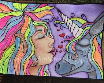 Digital stamp colouring image - unicorn love . jpeg / png