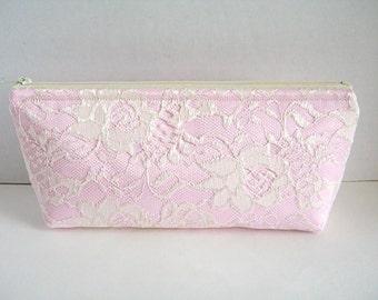 Blush Satin Clutch - Ivory Lace Clutch - Bridesmaid Makeup Bag - Wedding Clutch - Blush Pink Clutch - Bridesmaid Clutch - Bridal Clutch