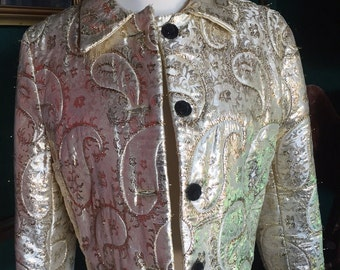 Vintage gold metallic thread bolero coat/jacket/medium
