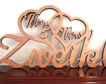 "Personalised Surname ""Mr & Mrs"" Wooden Sign"