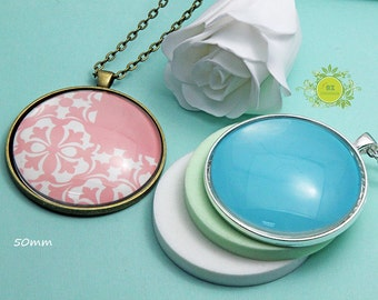 5 DIY Pendant Tray Kits-50mm round Photo Pendant Trays With 50mm round Glass Cabochons and vintage ball charin