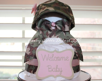 Camo Diaper Cake, Camo Baby Shower Decorations, Soldier Diaper Cake, Military Theme Baby Shower