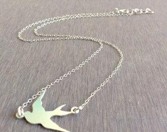 Bird Necklace, Tiny Swallow Necklace, Gold Bird Necklace, Friendship Necklace, Nautical Necklace, Gold Necklace, Petite Necklace
