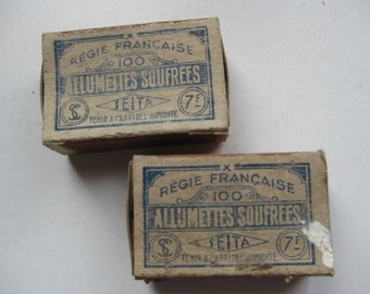 "2 Vintage French matchboxes ""allumettes soufrees""."