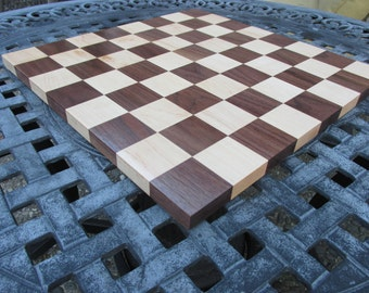 Birthday gift for men. Chess board made of maple and walnut. Great gift for anyone who loves chess. Birthday gift for him.