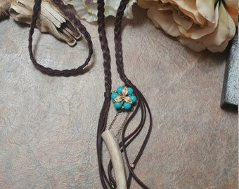 Vintage Turquoise & Deer Fringe Necklace: