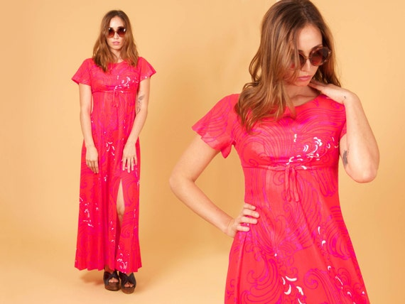 vtg RETRO 60's mildred's of HAWAII MAXI dress w/ front slits