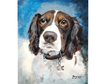 CUSTOM pet portrait on canvas - ONE pet - with love to animals - Pet Supply