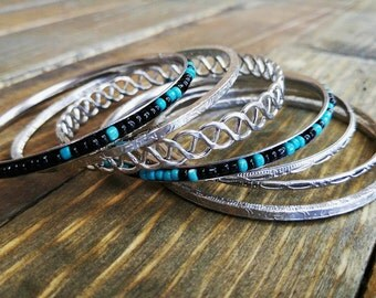Teal Black Silver Bead 7pc Bracelet Bangle Set