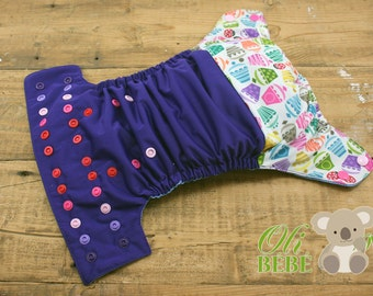 Cupcake violet - Cloth Diaper One Size pocket