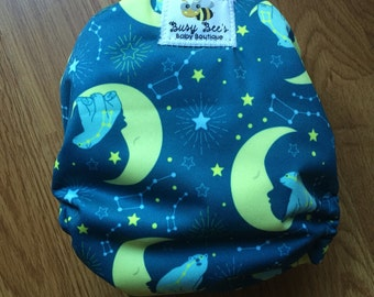 Newborn Cloth Diaper (Bears in the Moon) All in two or Pocket