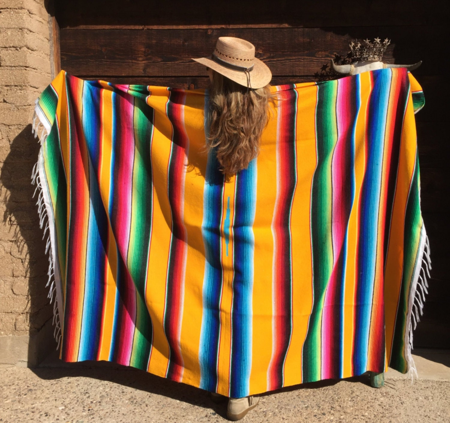 Mexican Serape Blanket Large Bright Yellow Add A Pop Of Color