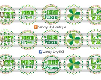 St. Patrick's Day Bottle Cap Images- Light Pink