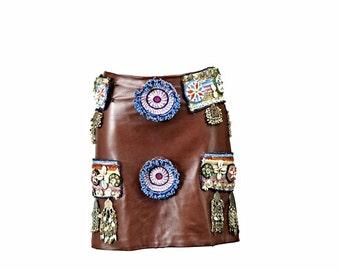 Tribal leather skirt