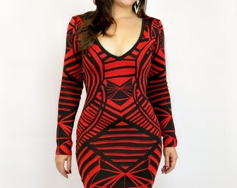 Red Black Tribal Bandage Dress