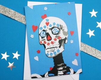 Mexican Sugar Skull Card - Mexico Day of the Dead Anniversary Card - Dia de Los Muertos - Skull Anniversary Card - Love Cards