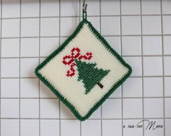 Presina natalizia a uncinetto, potholder Christmas crocheted, Christmas, Decorazione natalizia, Natale, inverno, uncinetto, idea regalo