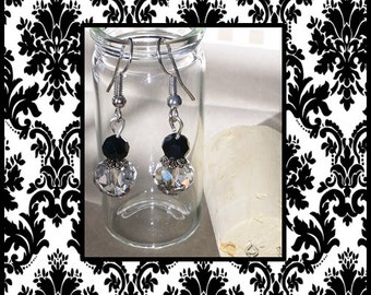 Clear and Black Crystallized Earrings