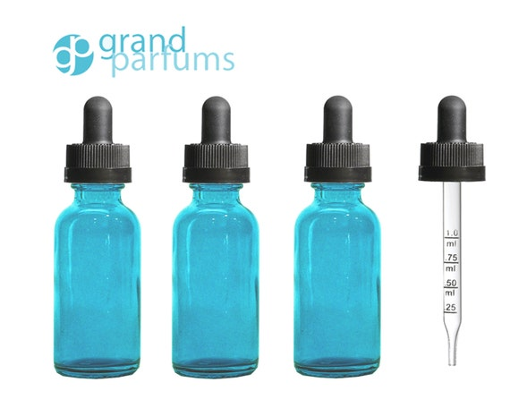 3 Dark Turquoise Teal Glass 30ml 1 Oz W Calibrated Graduated