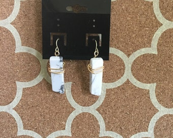 Marble and Gold Dangle Earrings