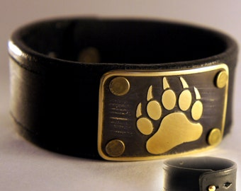 Bear Claw Bracelet leather + brass