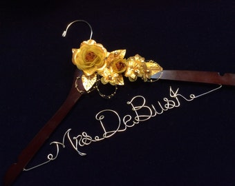 Personalized wedding hanger, Gold Rose Bride hanger, wedding dress hanger