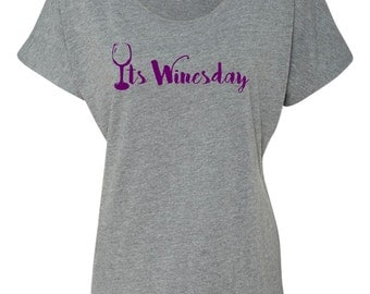 Its Winesday slouchy triblend dolman  tee
