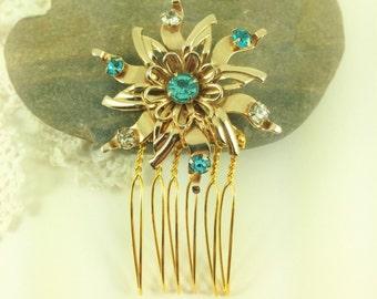 Turquoise Blue Wedding Hair Comb, Rhinestone Comb, Flower Brooch, Garden Wedding, Vintage Wedding, OOAK Hair Accessory