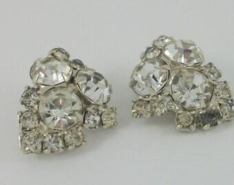 Vintage Rhinestone Earrings, Clip On Earrings, Vintage Wedding, Vintage Bridal, Vintage Gift,