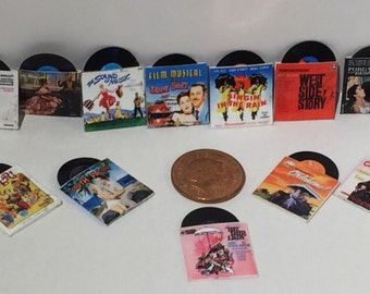 set of 12 Film Soundtrack records !:12th scale for dolls houses