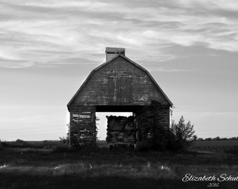 Country Corn Crib- Black and White Photography