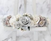 Grey and white wedding flower crown II - head wreath - bridesmaid hair accessories - flower girls - garland