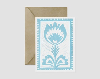 Polish Wycinanki Folk Art Linocut Flower Card