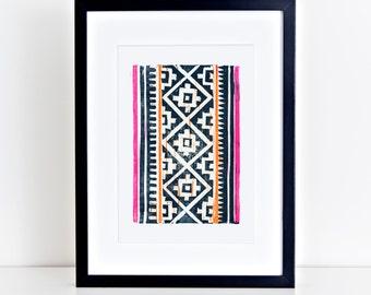 Hmong Linocut Print 8x10