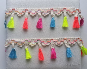 1 yd - Ivory, Neon Multi Coloured Tassel Fringe, Neon pom pom Trim, tassel garland Supply