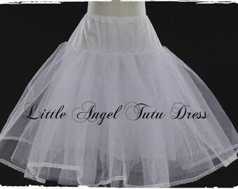 Girls Long Crinoline Underskirt Petticoat Flower Girl Dress or Tutu Dress coverage and volume 40cm 50cm 60cm 70cm 80cm 90cm