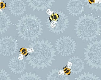 Andover - Sunflowers - Jane Dixon - A-7757-C - Bees - Honey Bees - Large Sunflowers - Grey