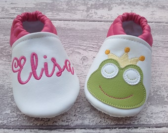 Faux leather Frog baby shoes personalized with name - Non slip sole - Girl Newborn