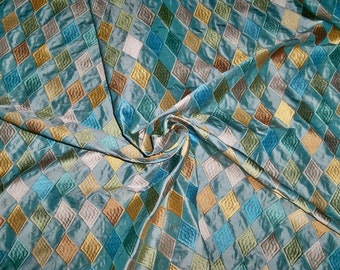 STROHEIM & ROMANN DIAMONTE Harlequin Diamonds Embroidered Silk Fabric 10 Yards Aqua Multi