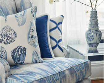 SCALAMANDRE Tropical South Seas Seashells Toile Linen Fabric 10 Yards Porcelain