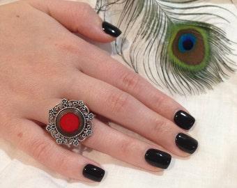 Stunning Red Enamel Vintage Button Ring