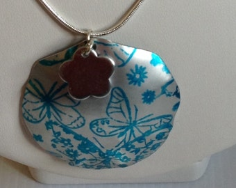 Turquoise Butterflies and flower pendant - aluminium