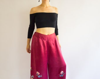RARE!!! Vintage 1930's Silk Palazzo/Pajama Pants With Embroidery, Size-M/L